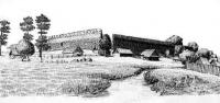 Выгляд замчышча з паўднёва-заходняга боку - Лiдскi замак. Малюнак Я. Драздовiча, 1929 г.