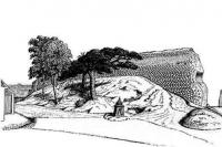 Паўночна-заходняя сцяна замка - Лiдскi замак. Малюнак Я. Драздовiча, 1929 г.