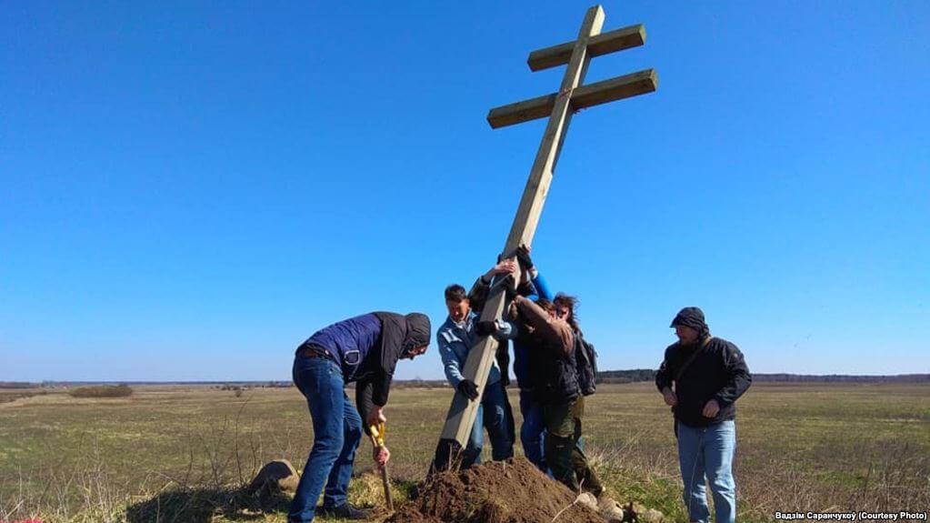 Под Лидой установили 5-метровый крест в честь повстанцев Калиновского
